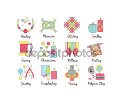A collection of colorful modern cartoon outlined icons for various     Depositphotos A collection of colorful modern cartoon outlined icons for various kinds of handmade  diy and craft activities  For web  presentations  stickers  etc