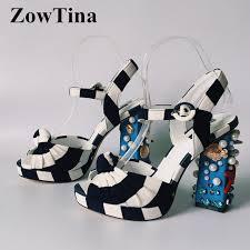 Striped Cloth Women <b>Gladiator</b> Ankle Strap Sandals Fashion ...