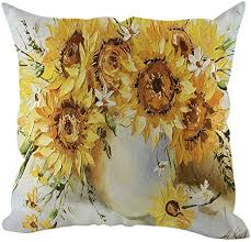 Ankola Flowers Birds <b>Sunflower Print</b> Pattern Cotton Linen <b>Square</b> ...