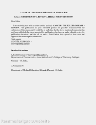 Sample Cover Letter For Submitting A Manuscript In Journal     Resume Example and Cover Letter Category