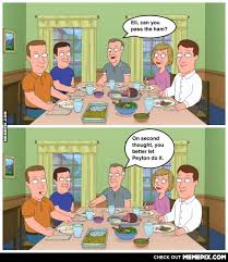Family dinners are awkward at the Manning house this season - MemePix via Relatably.com