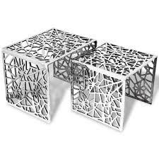<b>Two Piece Side Tables</b> Square Aluminium Silver Sale, Price ...