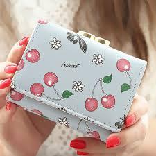 <b>Women Wallet Korean Fashion</b> Cute Leather Wallet Cherry Printed ...