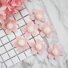 <b>New 10pcs</b> beautiful pink flowers 6cm Wool <b>Felt</b> balls for Garland ...