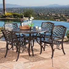 patio dining: outdoor hallandale  piece cast aluminum bronze dining set by christopher knight home