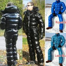 <b>Men Fashion</b> Ski Suit with Removable Hood Down Jacket Jumpsuit ...