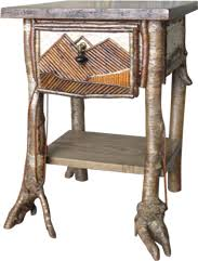 birch bark and willow endtable rustic furniture craftsmen bark furniture