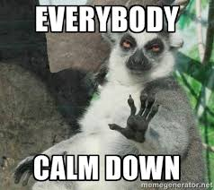 Everybody Calm Down - Not Today Lemur | Meme Generator via Relatably.com