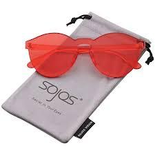 SOJOS <b>One Piece</b> Round Rimless Sunglasses <b>Transparent Candy</b>
