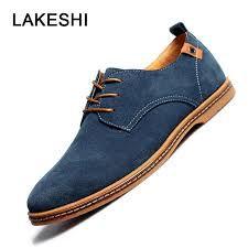 LAKESHI <b>2019 Spring New</b> Men Shoes Casual Suede Leather ...