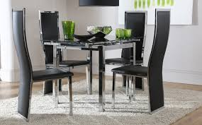 round glass extendable dining table:  dining table space square black glass amp chrome extending dining table and  chairs set