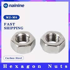 100pcs Din934 M2/<b>M3</b>/M4/M5 Black <b>Carbon Steel</b> Metric Hex ...