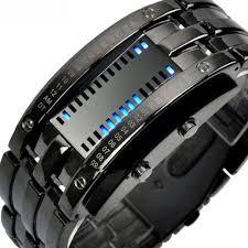 <b>Fashion Luxury Stainless</b> Steel Binary Led Waterproof Wristwatch ...