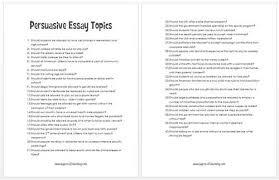 Top    Free Ideas for Argumentative Persuasive Essay Topics