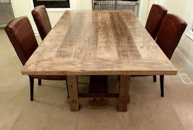 long wood dining table: make your own large rectangle reclaimed wood dining table with brown cushion chairs diy large