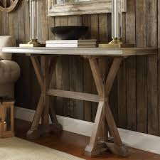 signal hills abbott rustic stainless steel strap oak trestle entryway sofa table cheap entryway furniture
