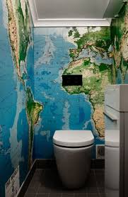 bathroom inspiration super cool does this large scale world map wallpaper overwhelm this small bathroo