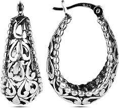 LeCalla <b>Sterling Silver Jewelry</b> Filigree Hoop <b>Earrings for Women</b> ...