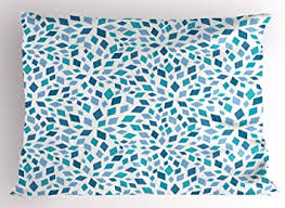 Ambesonne Teal Pillow Sham, Abstract Style Scattered <b>Mosaic</b> ...