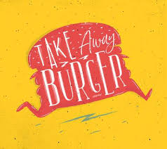 Poster Running <b>Burger In Retro Style</b> Lettering Take Away Burger ...