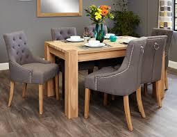 baumhaus aston oak dining set with 6 stone fabric upholstered chairs baumhaus aston oak dining set
