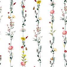 <b>Stripe</b> vertical row garden <b>flower</b> botanical seamless pattern in ...