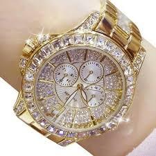 Ladies simulate Diamond <b>Watch</b> Gold Plated <b>Women Luxury</b> ...