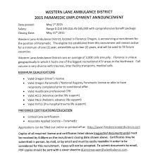 job announcement paramedic western lane ambulance district job announcement paramedic