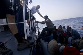 Image result for images of africans crossing oceans using pirates boats to italy