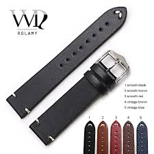 <b>Rolamy Watch Band 20</b> 22 24mm Leather Watchband For Rolex ...