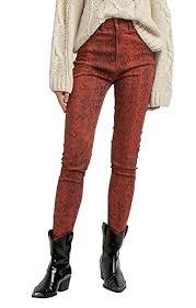 <b>SEMIR Women's</b> Relaxed Snake Print Straight Stretch Fit Jeans Pants