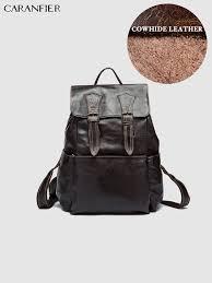 <b>CARANFIER</b> Mens Backpacks <b>Real</b> Cow <b>Leather</b> Large Capacity ...
