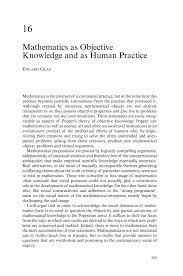 mathematics as objective knowledge and as human practice springer inside