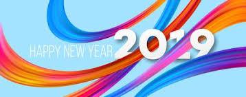Happy <b>New</b> Year <b>2019 Acrylic</b> Banner Design. Vivid Brushstrokes ...