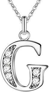 WIBERN Stylish <b>Jewelry</b> Silver Tone <b>Zircon</b> Stone G <b>Letters</b> ...