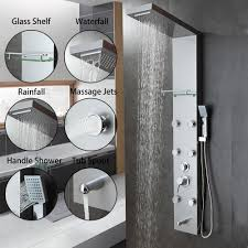 golden bathroom shower column faucet wall: new waterfall rain shower column body massage jets hot and cold shower panel  multi
