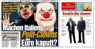Risultati immagini per berlusconi e grillo, the clowns, giornali stranieri