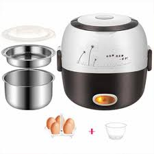 MINI rice <b>cooker</b> heating electric 2 double layers lunch box ...