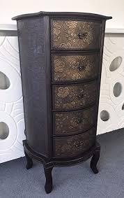 Dark <b>Wood</b> Oriental Chinese Style Drawer Storage Unit <b>Bedside</b> ...