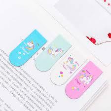 <b>4Pcs</b>/<b>lot</b> Kawaii Unicorn Magnetic Bookmark <b>Cute Creative</b> ...