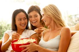 Image result for popcorn laughing girl