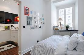 apartment cozy bedroom design: how to design your two rooms apartment cozy bedroom design beside kitchen with bedcover pillows