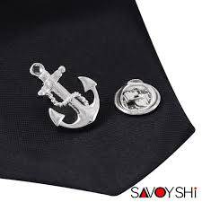2019 <b>SAVOYSHI</b> Novelty Silver Anchor Shape Men <b>Lapel Pin</b> ...
