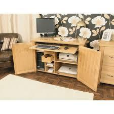 oak desk hideaway open oak computer desk hideaway baumhaus hidden home office 2 door cabinet