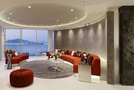 best modern living room designs: special different living room design idea extravagant red sofa modern round ceiling different living room