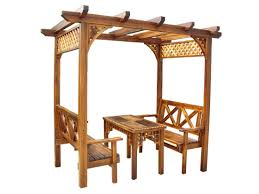 wooden bench patio outdoor dining set simple