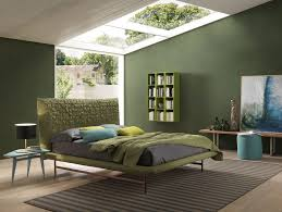 modern bedroom concepts: view in gallery bedroom with green wall and green bedding bolzan