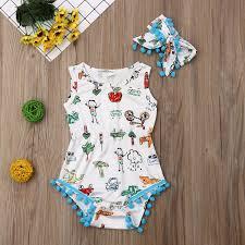 <b>2019 Baby Girl summer</b> Floral cute carton Romper jumpsuit Tassels ...