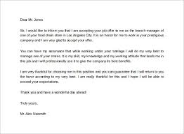 sample job acceptance letter      free documents in pdf  wordjob acceptance thank you letter for free