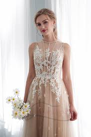 A-line <b>Champagne Tulle</b> Long <b>Wedding</b> Dress with <b>Applique</b>
